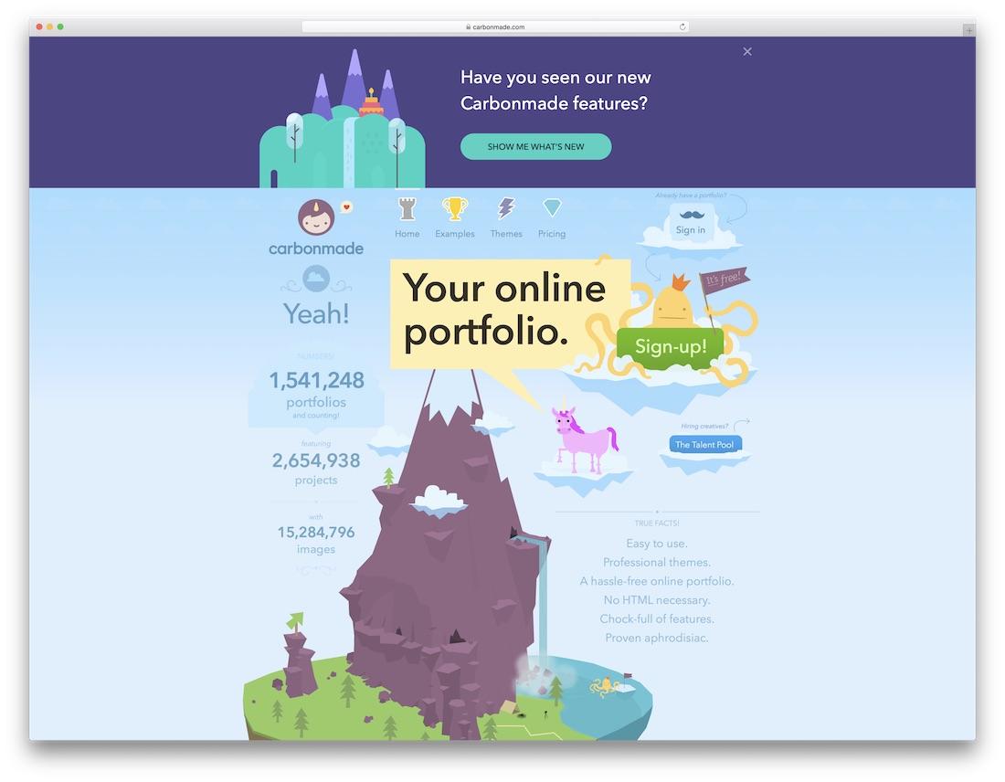 carbonmade meilleur constructeur de sites Web pour artistes