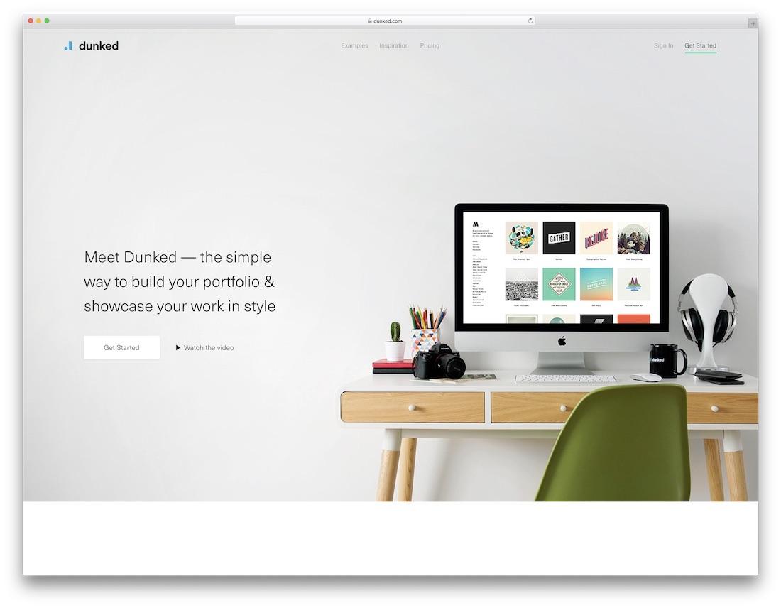 dunked meilleur constructeur de site Web pour les artistes