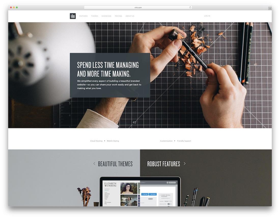 virb meilleur constructeur de sites Web pour artistes