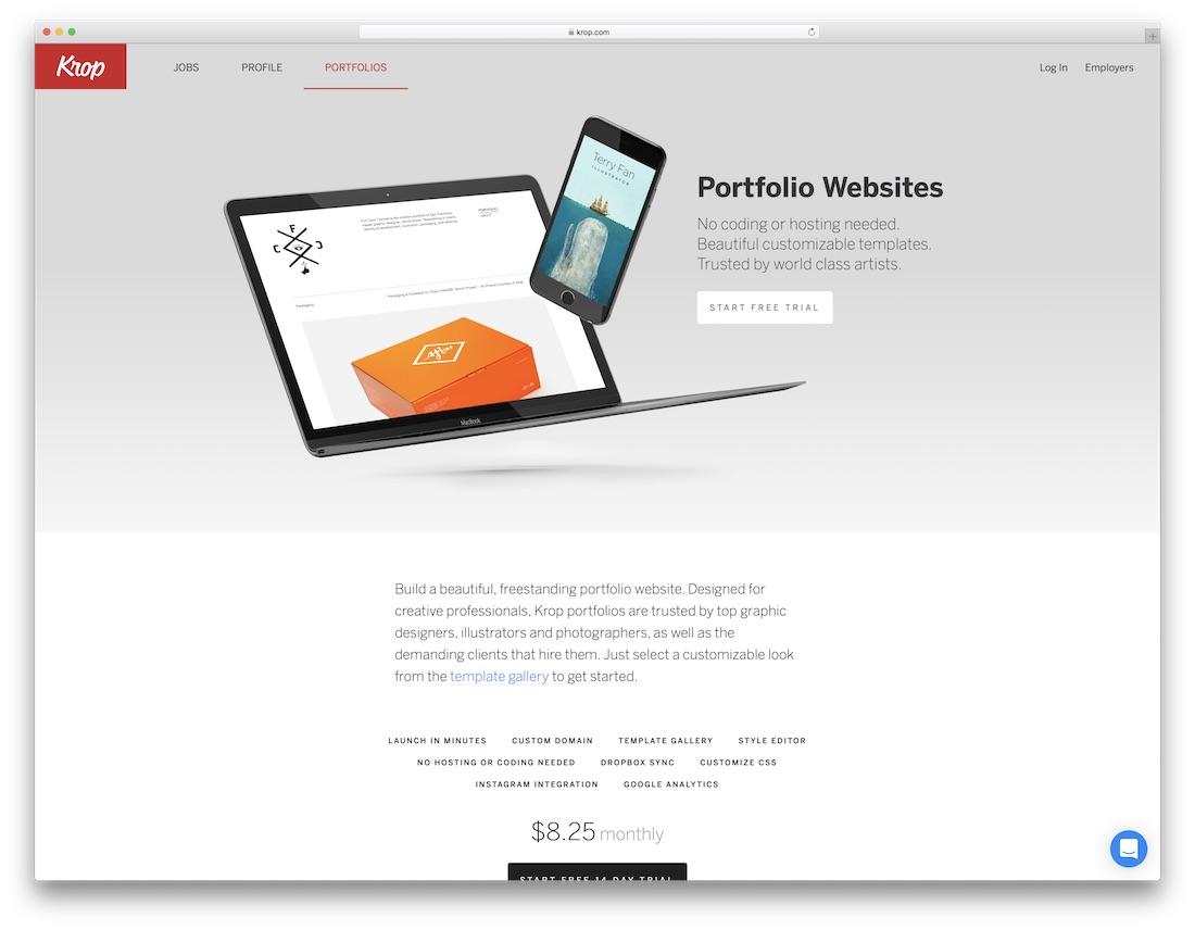 krop meilleur constructeur de site Web pour les artistes