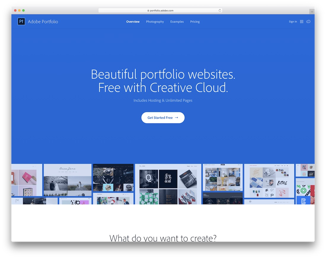 créateur de site web artiste portfolio adobe