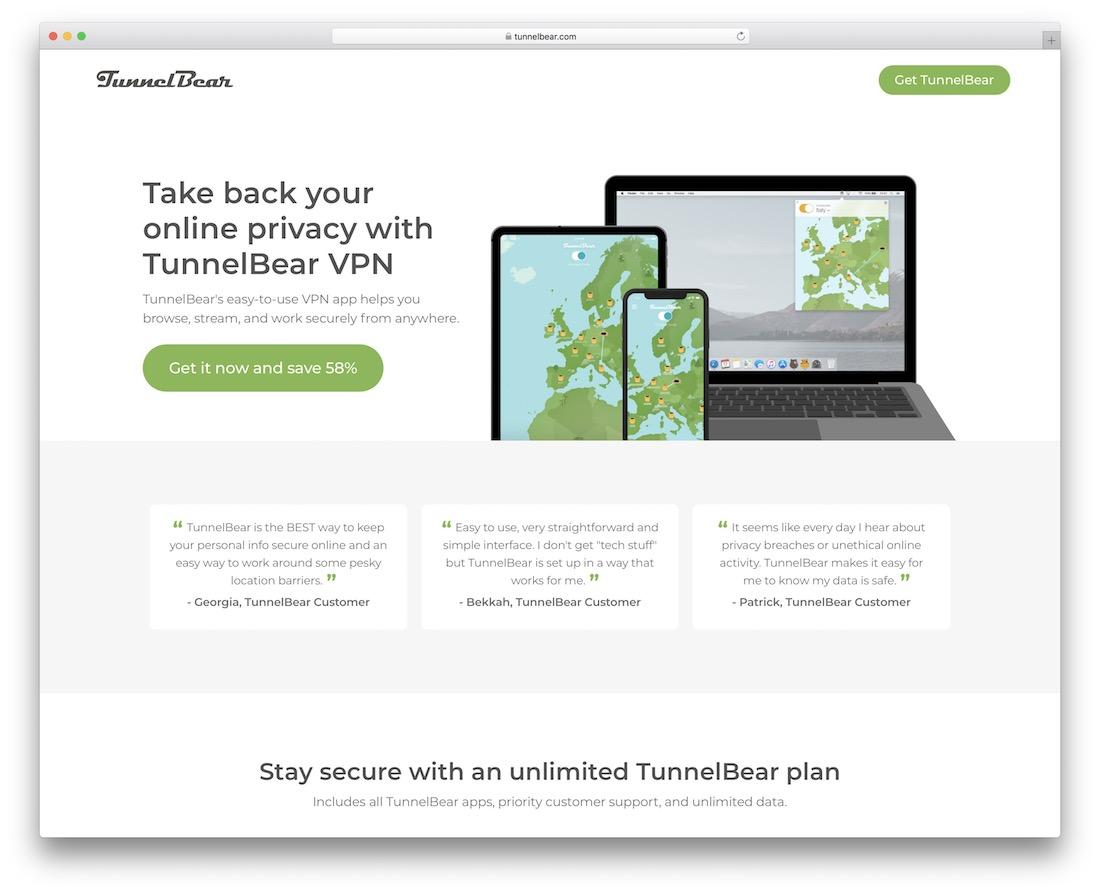 service VPN tunnelbear