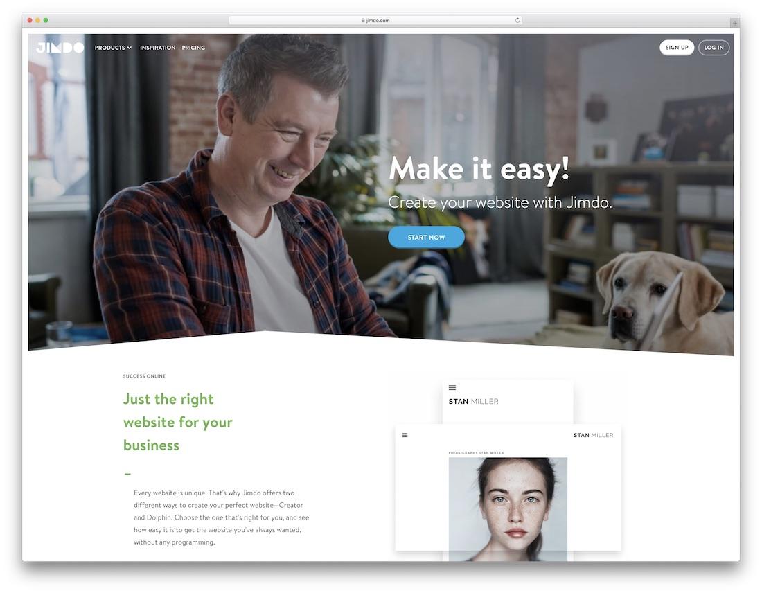 jimdo meilleur constructeur de sites Web de portefeuille