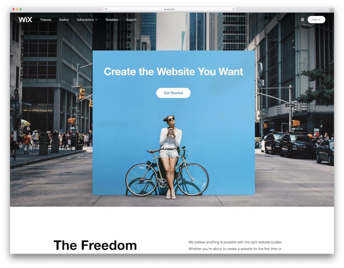 wix meilleur constructeur de sites Web pour artistes