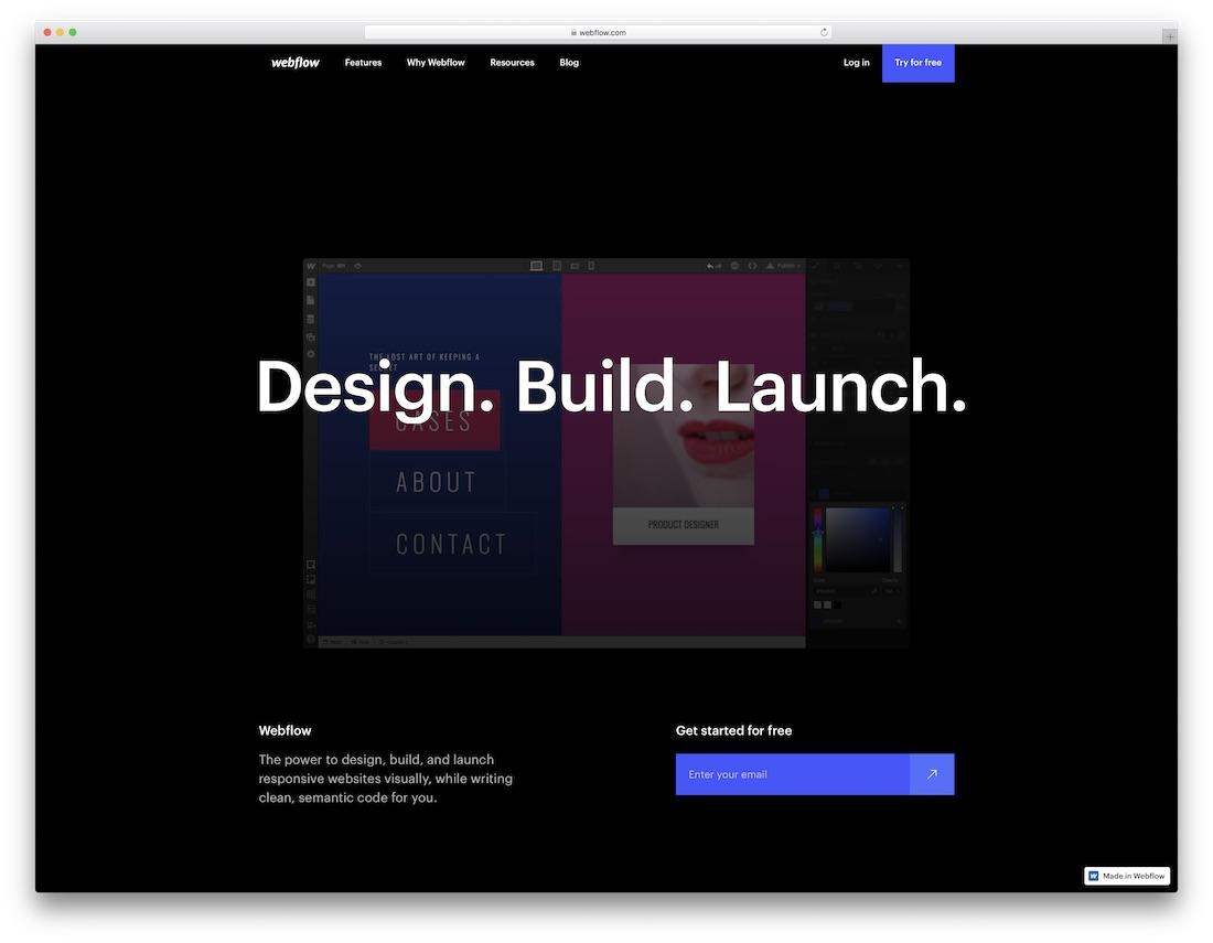 constructeur de site Web d'artiste Webflow