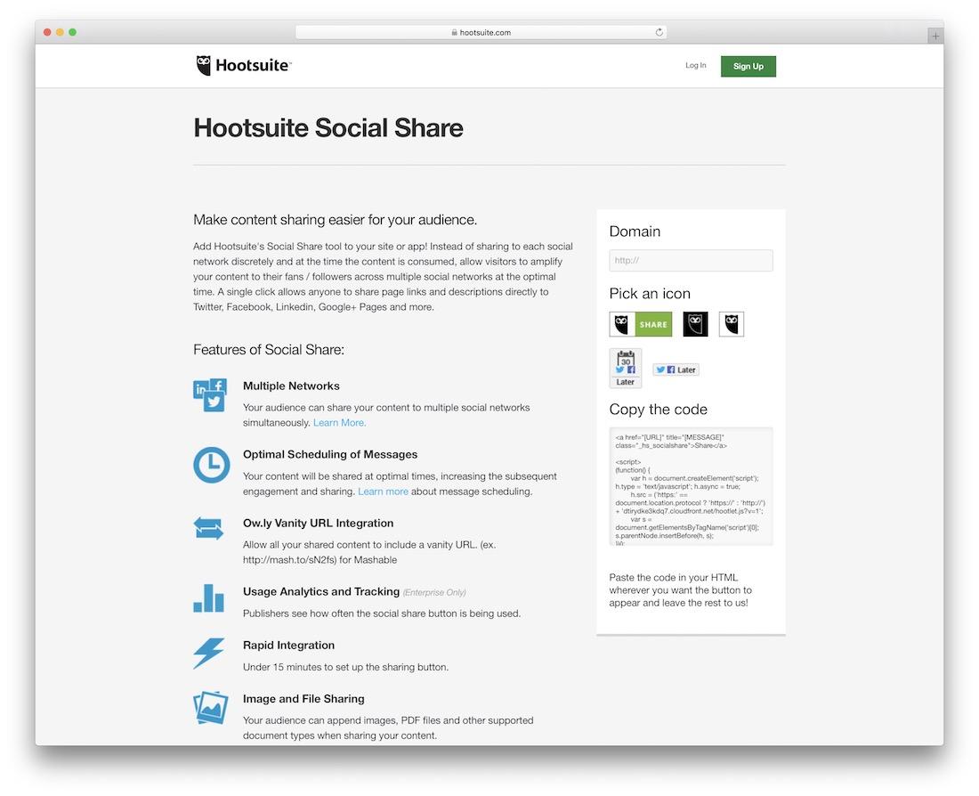 boutons de partage social hootsuite