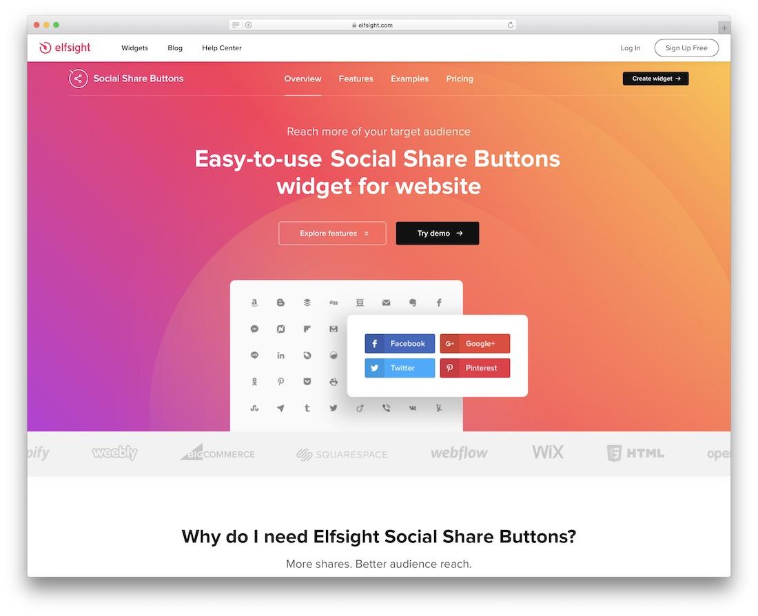 widget de bouton de partage social gratuit elfsight