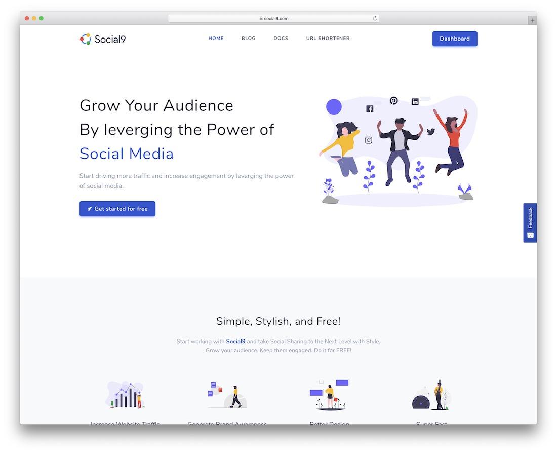 widget de bouton de partage social gratuit social9
