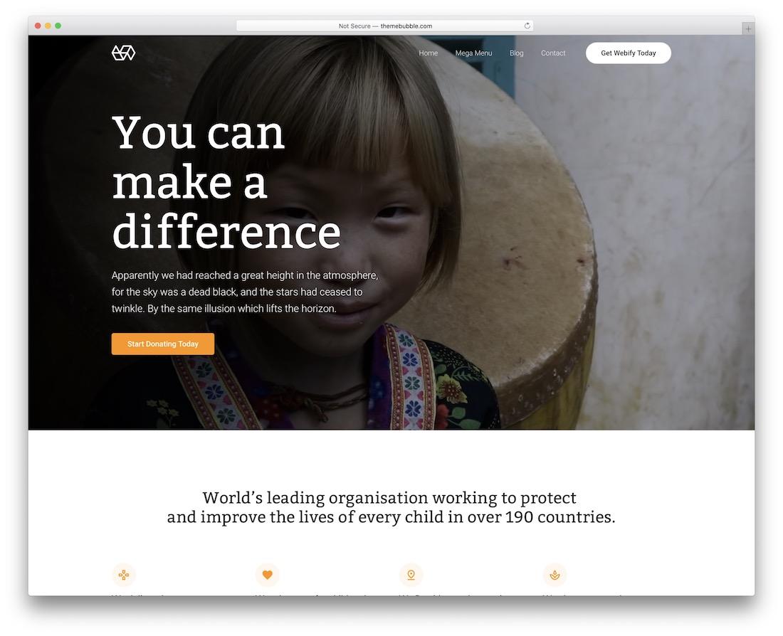thème webify wordpress pour les organisations caritatives à but non lucratif
