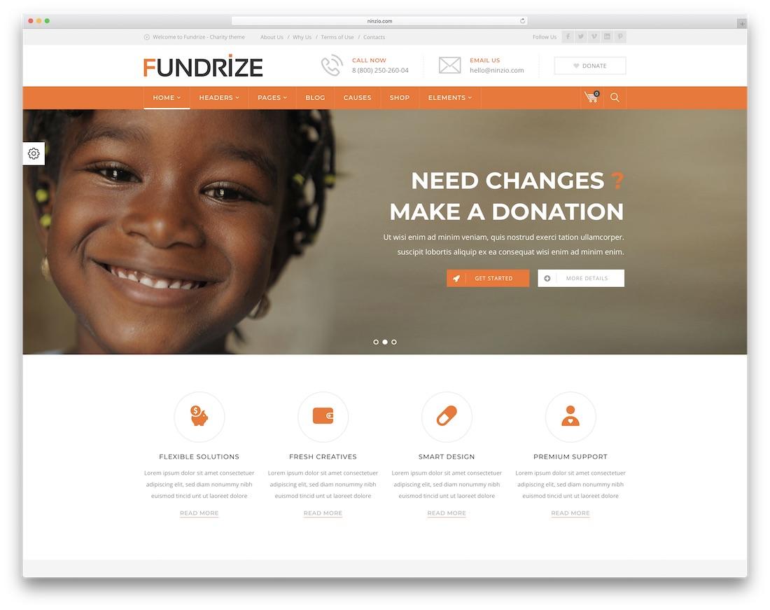 don de fonds et thème wordpress de charité