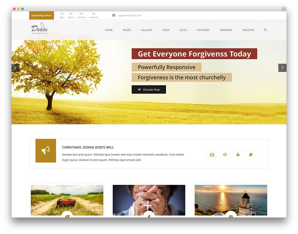actes - Thème WordPress de l'église propre