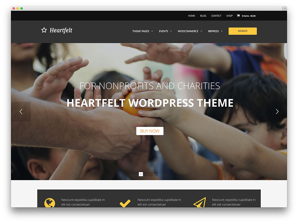 modèle WordPress de charité sincère