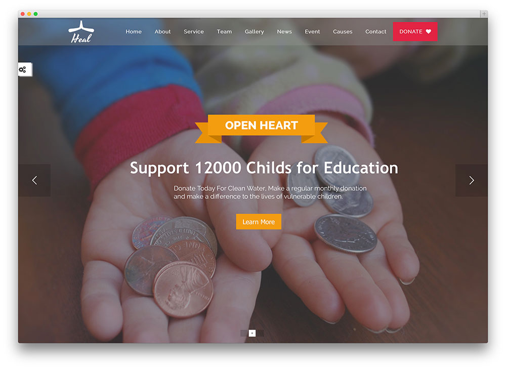 heal non-profit wordpress template