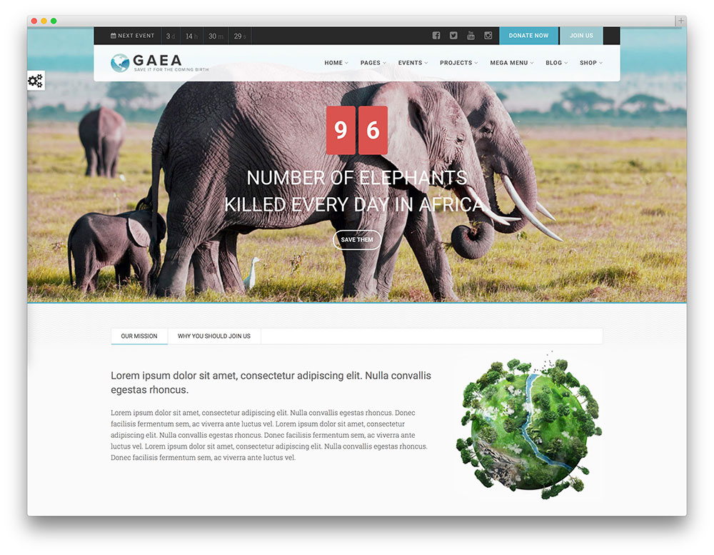 gaea charity wordpress theme