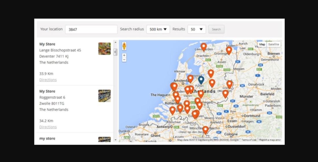 Page de démonstration de WP Store Locator