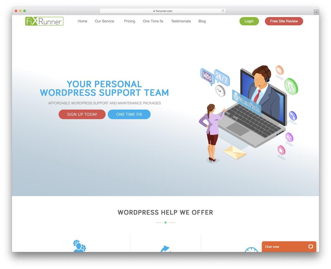 service de maintenance fixrunner wordpress