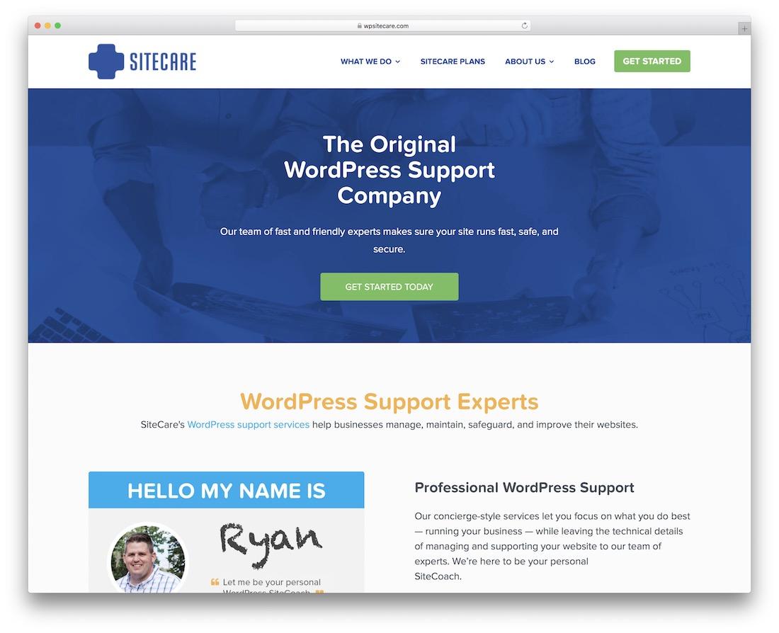 sitecare service de maintenance wordpress