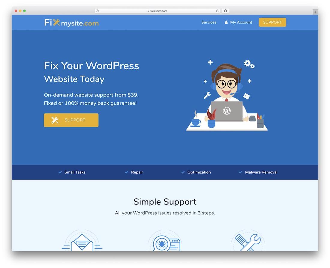 réparer mon site service de maintenance wordpress