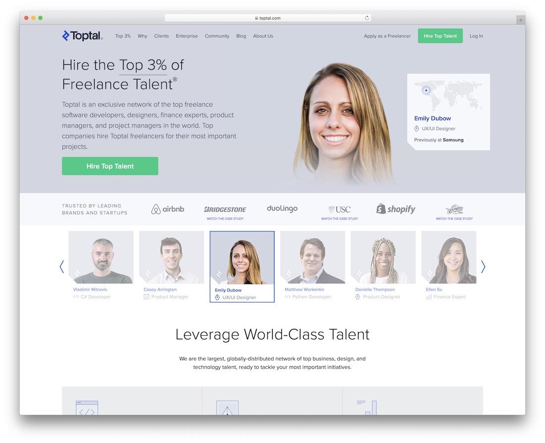 marché des talents freelance toptal