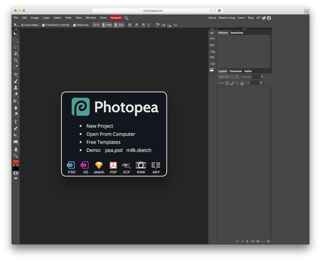 Photopea alternative gratuite à Photoshop