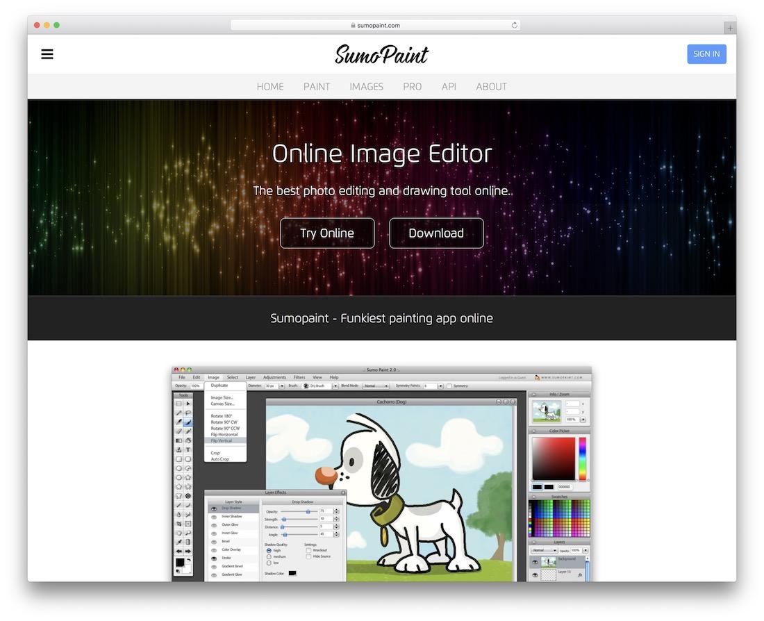 éditeur d'images en ligne gratuit sumopaint
