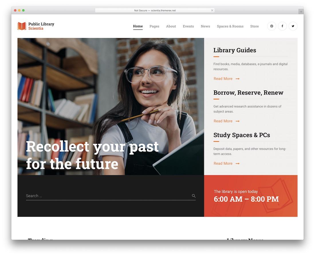 thème scientia wordpress pour les bibliothèques de librairies
