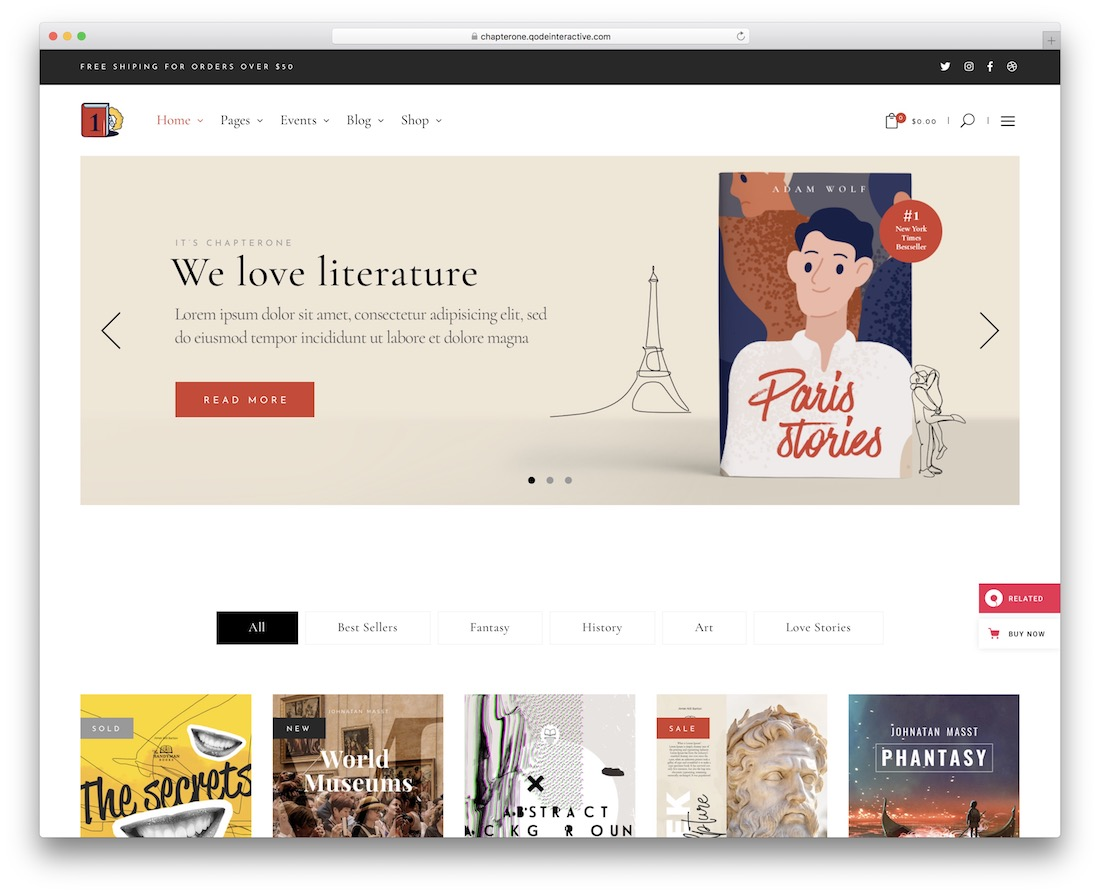Thème wordpress de Chapterone pour les librairies