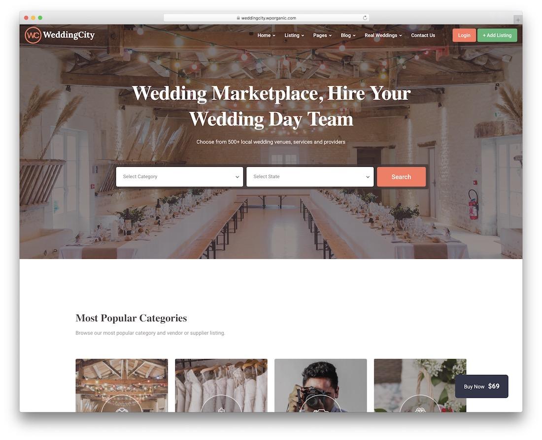 Thème d'annuaire de petites annonces wordpress weddingcity