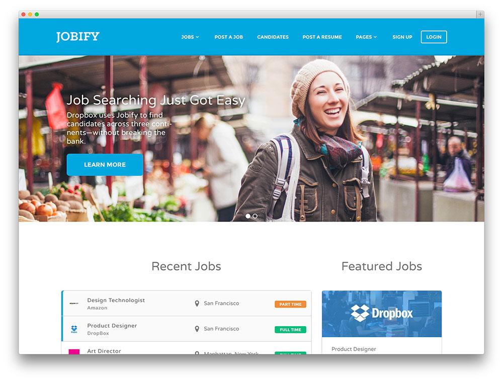 jobify - Thème de site d'emploi le plus populaire