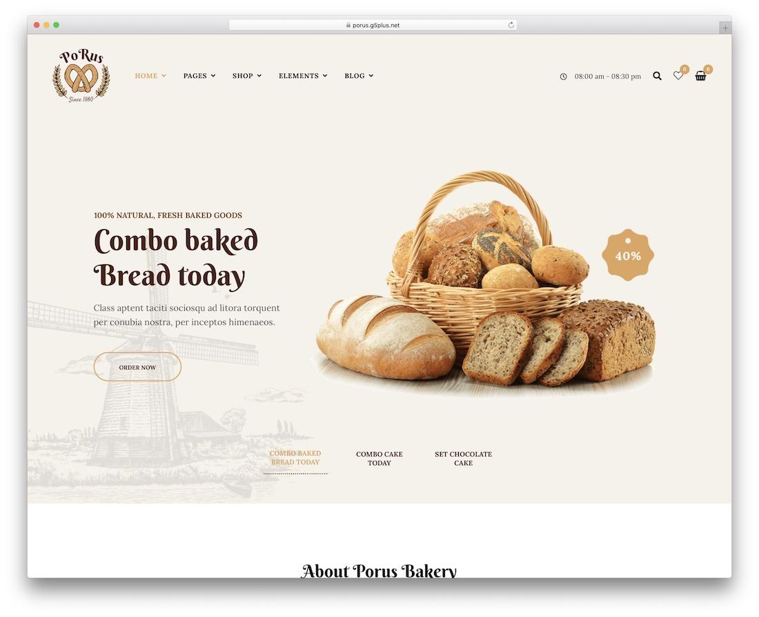 modèle de site Web de boulangerie porus