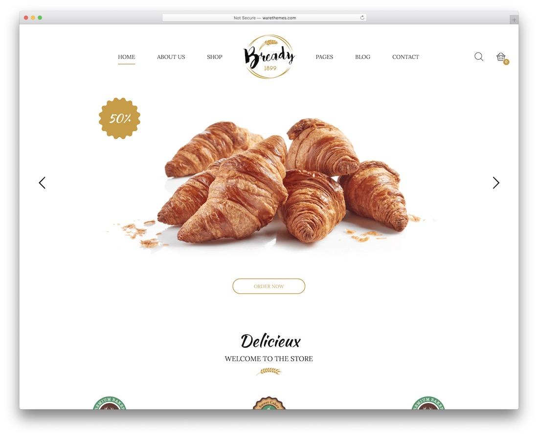 modèle de site Web de boulangerie pâtisserie