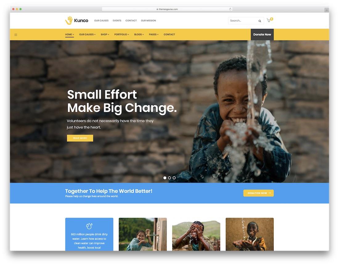 Thème wordpress de collecte de fonds kunco