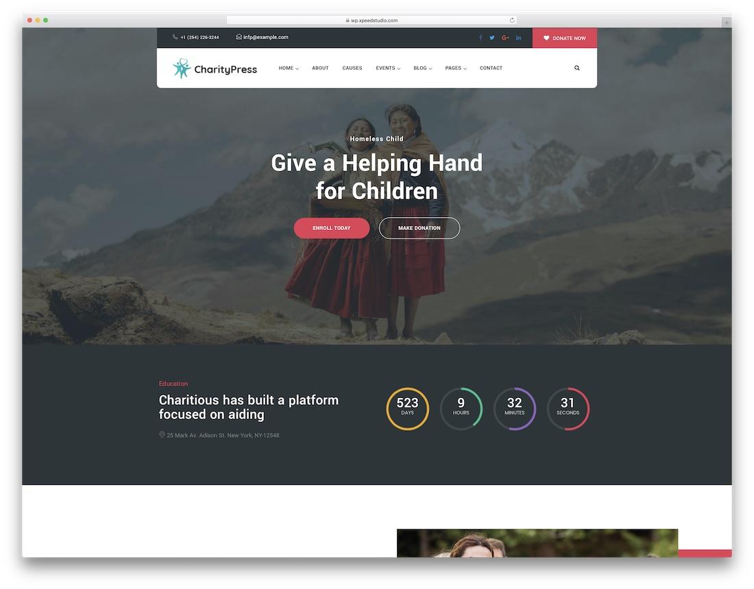 Thème wordpress de collecte de fonds caritative