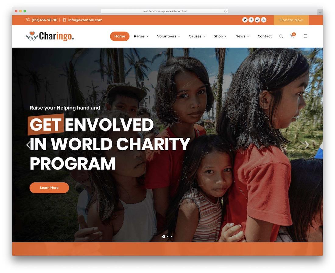 thème wordpress de collecte de fonds charingo
