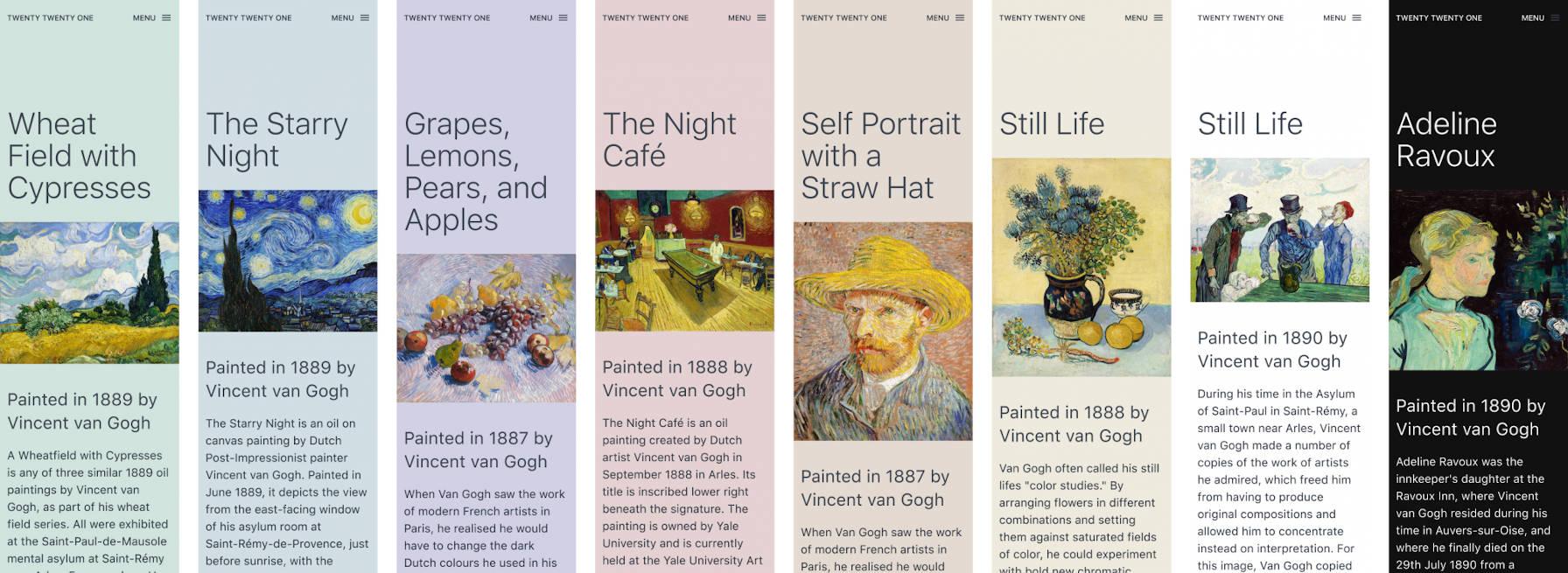 Options de palette de couleurs pour le thème WordPress Twenty Twenty-One.