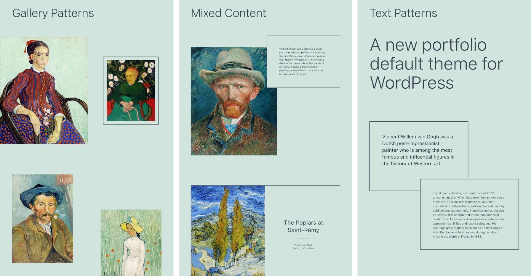 Trois modèles de blocs fournis par le thème WordPress Twenty Twenty-One.