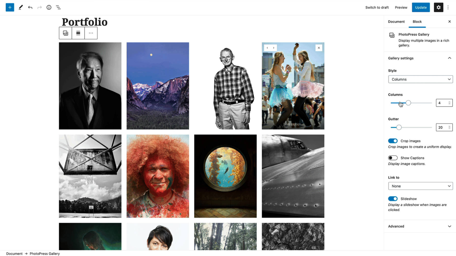 Bloc PhotoPress Gallery dans l'éditeur WordPress.
