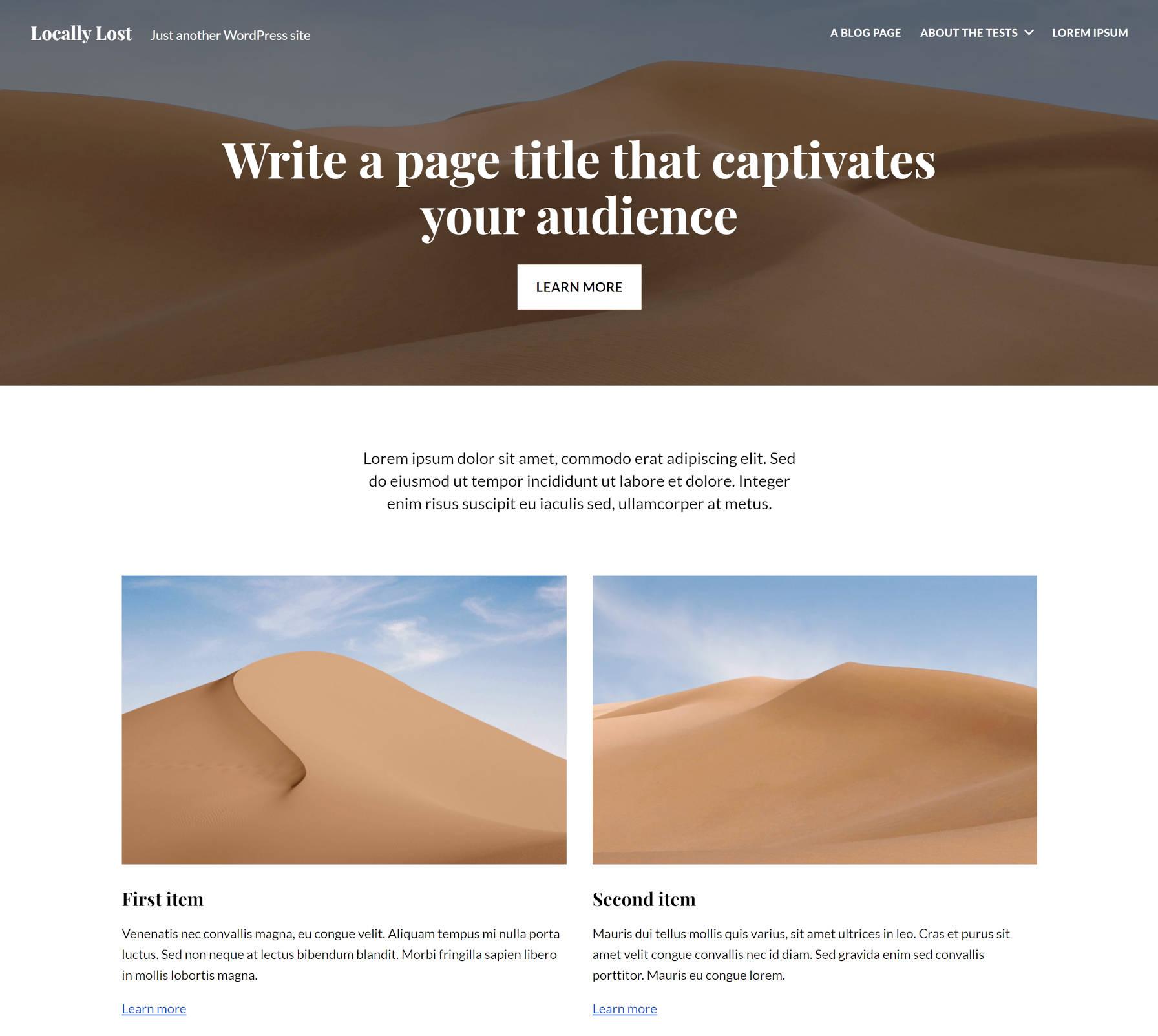 Mise en page du plugin Twentig WordPress.