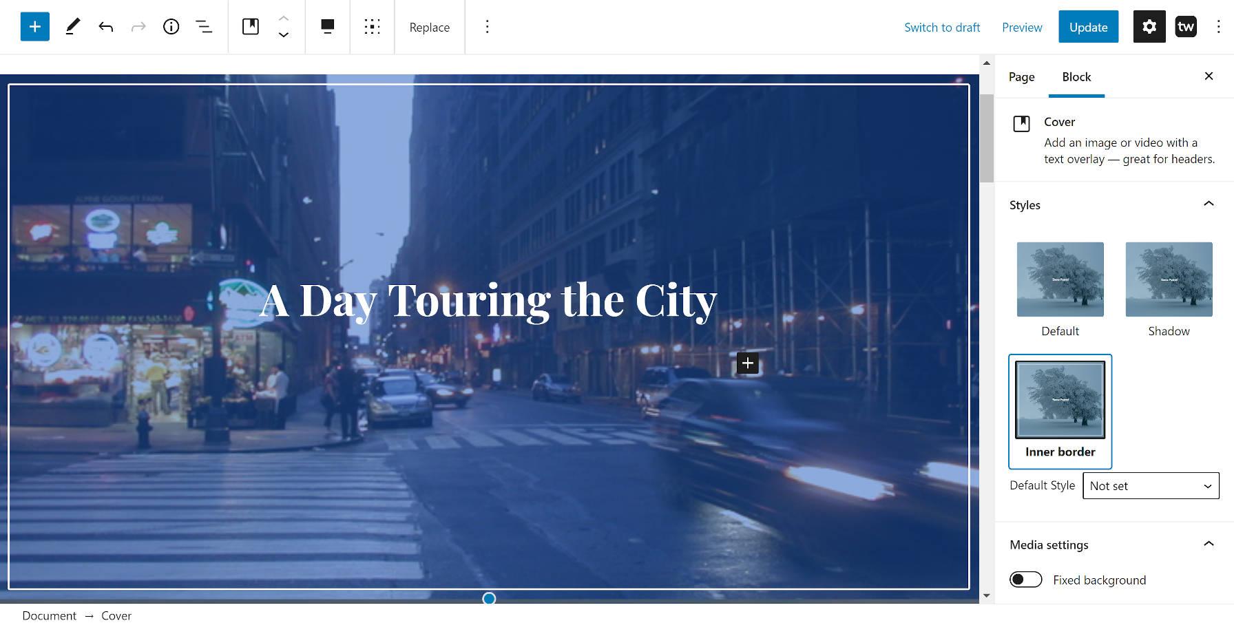 Style de bordure intérieure personnalisé du plugin Twentig WordPress sur le bloc Cover.