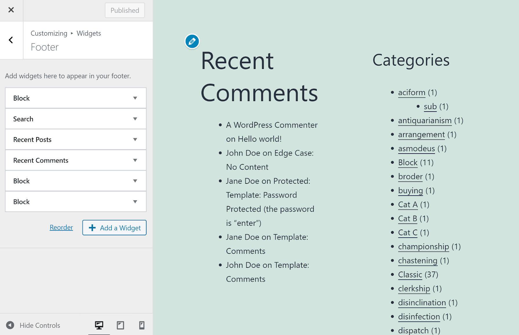 Panneau Widgets dans le personnalisateur WordPress.