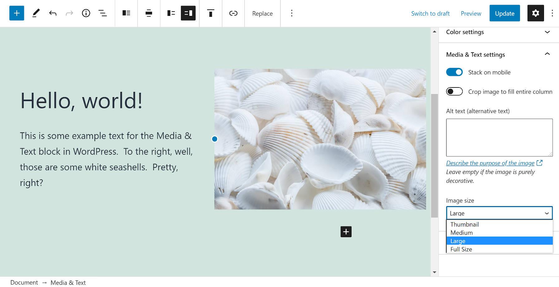 Bloc Média & Texte dans l'éditeur WordPress.