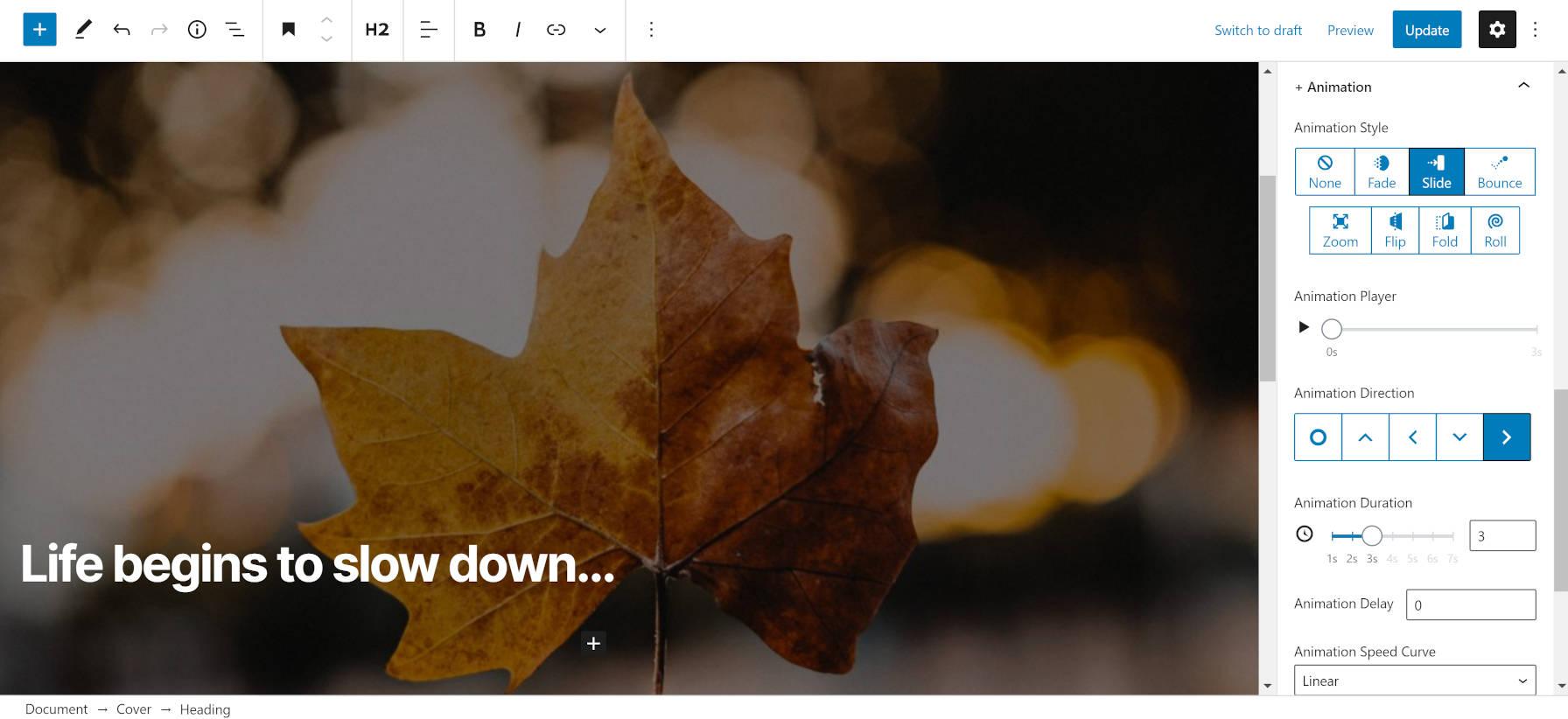 Utilisation de la fonction d'animation du plugin EditorPlus dans l'éditeur de blocs.