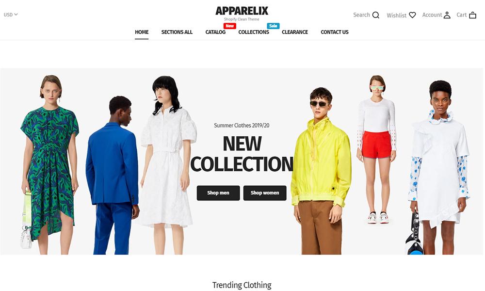 Thème Shopify polyvalent propre pour la marque de vêtements - Apparelix