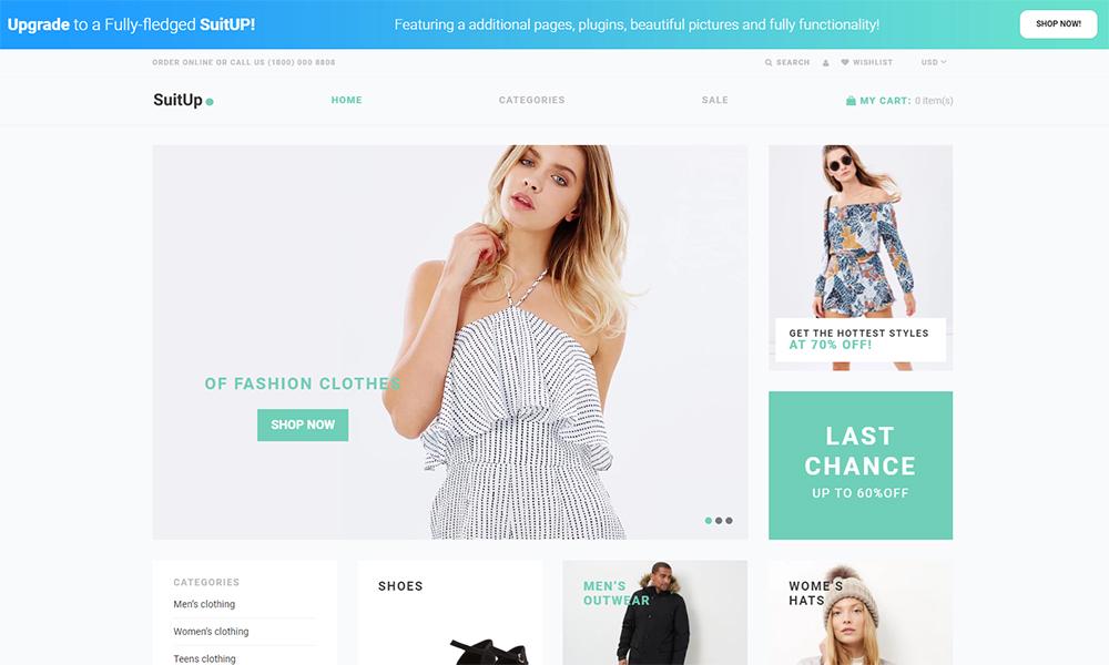 SuitUP - Thème Shopify élégant gratuit pour magasin de mode