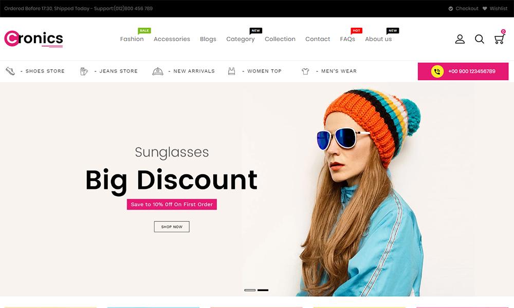 Thème Shopify réactif pour la mode Cronics