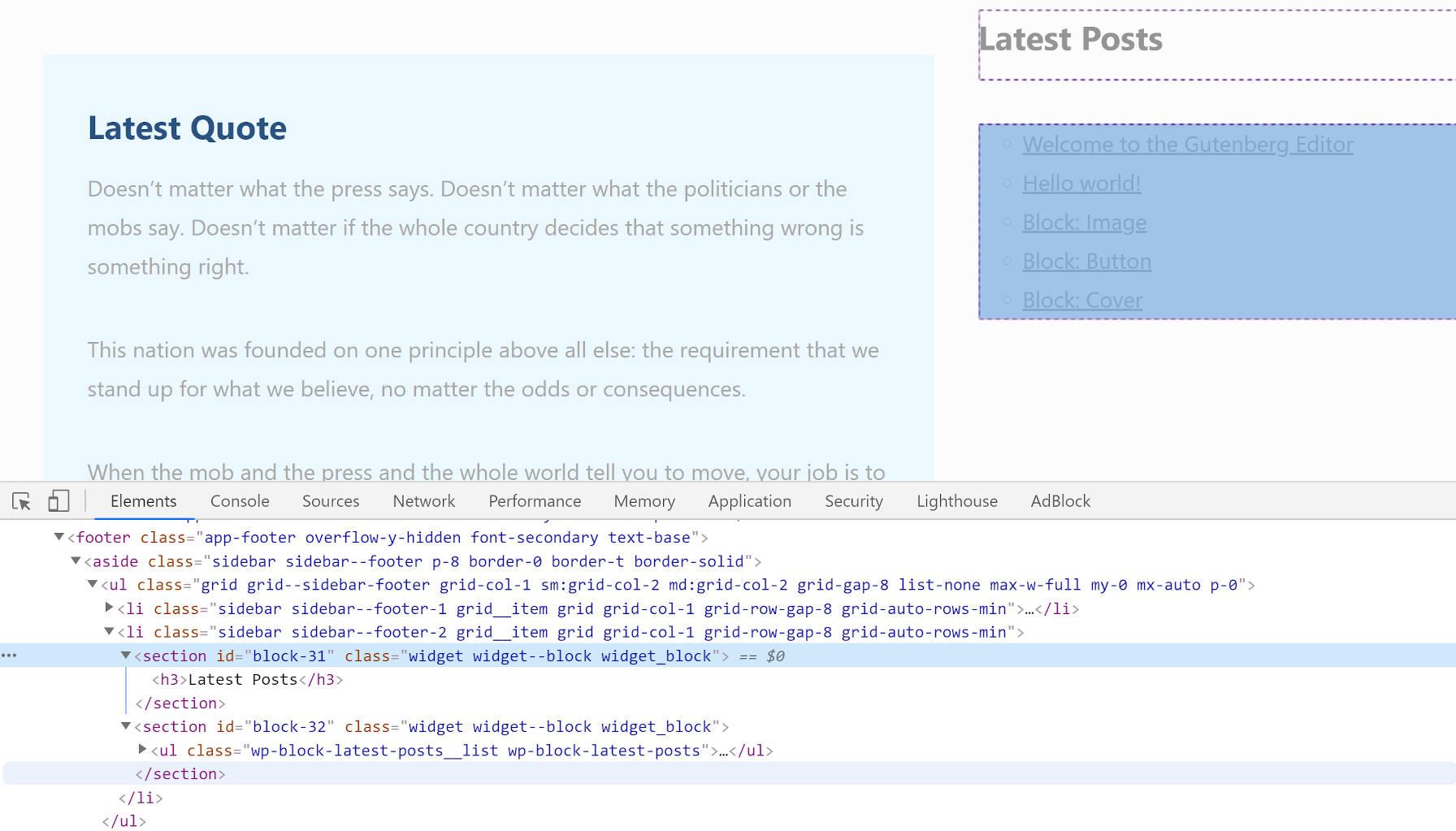 Affichage en direct et en code du code HTML incorrect du wrapper de widget dans Gutenberg.
