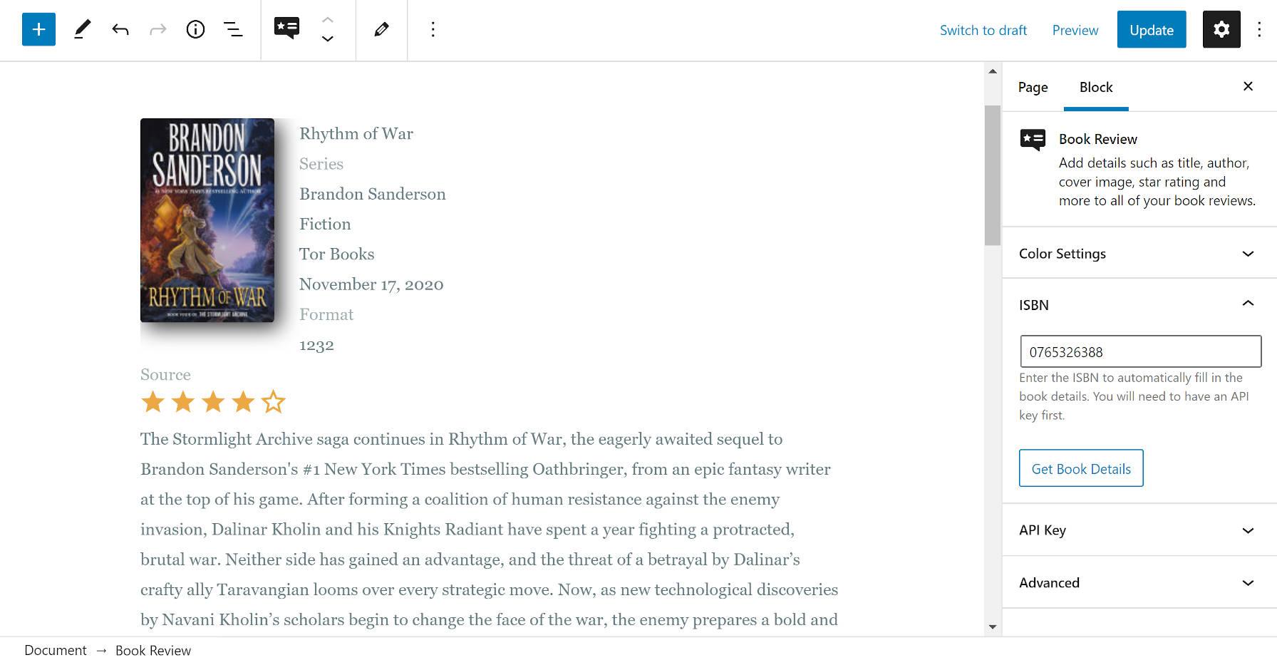 Utilisation du bloc de critique de livre dans l'éditeur WordPress.