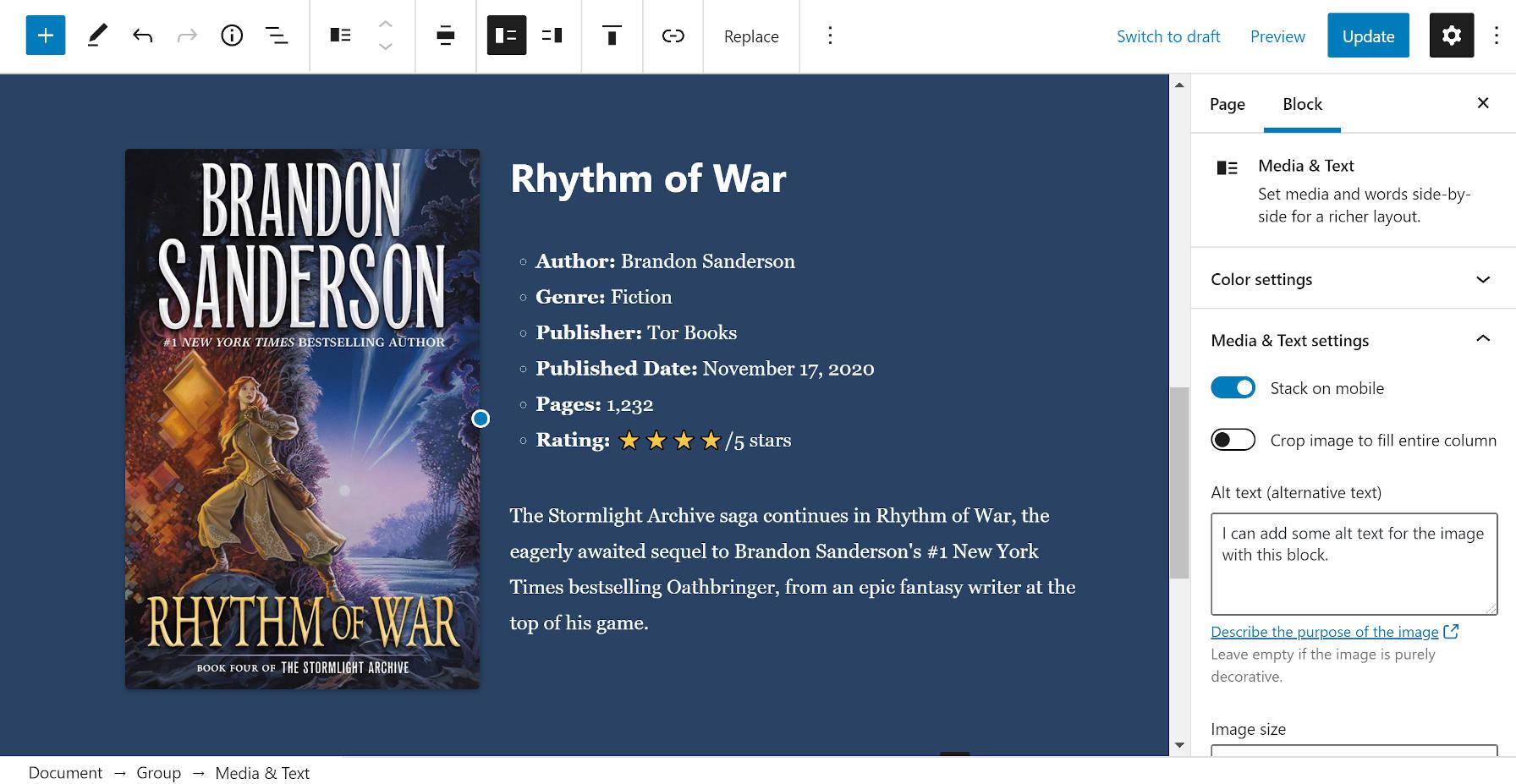 Création d'une section de critique de livre avec le bloc Média & Texte dans l'éditeur.