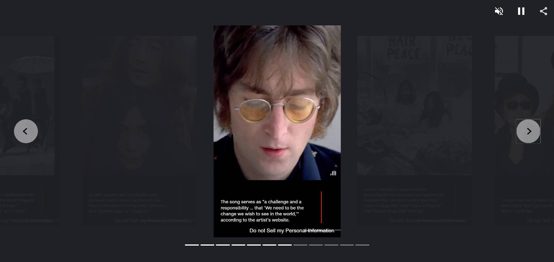 Page d'histoire Web de la couverture de CNN sur John Lennon.