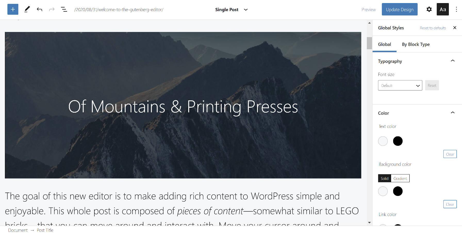 Utilisation du thème Q dans la version bêta de l'éditeur de site depuis le plugin Gutenberg.